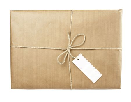 close up of carton  box  post package on white background Stock Photo - 5281620