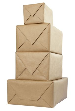 close up of carton  box  post package on white background  photo