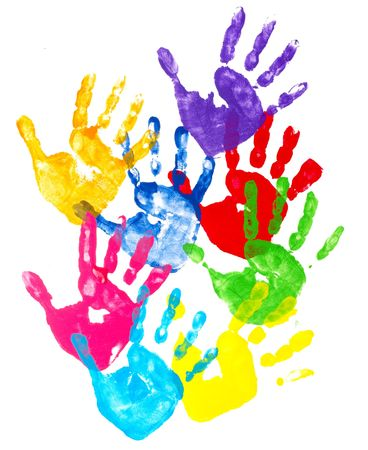 hand painting: collection of colorful child hand prints  on white background