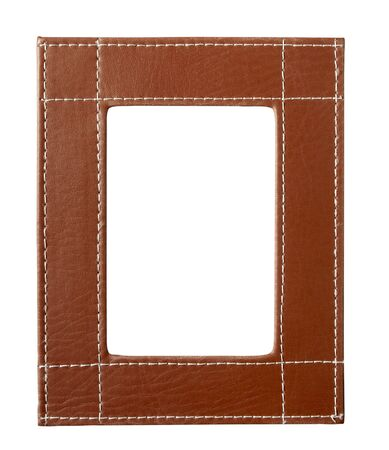 white leather: leather frame for painting or picture on white background