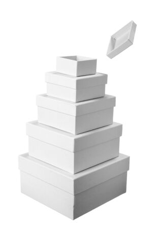 close up stack of white carton  box  package on white background  photo