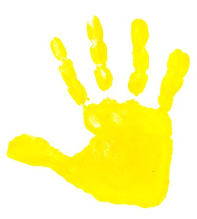 messy kids: close up of colorful child hand prints  on white background