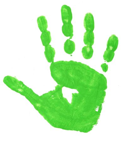 imprints: close up of colorful child hand prints  on white background