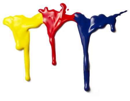 close up of colorful paints leaking down on white background Stock Photo - 5336221