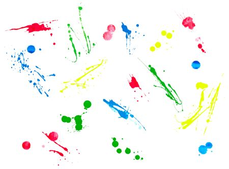 collection of colorful paint brush strokes on white background  photo