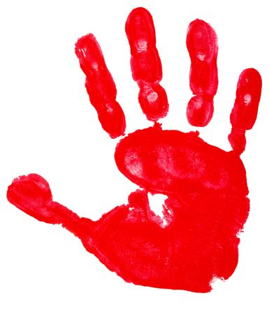 close up of colorful child hand prints  on white background