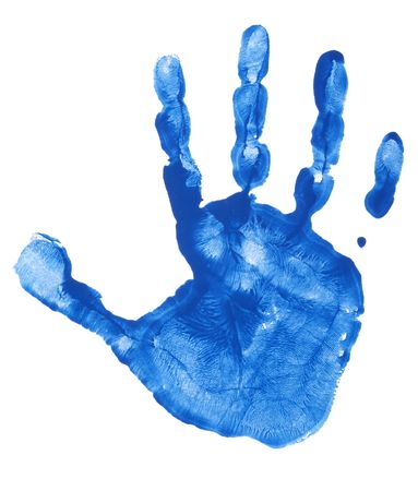 blue prints: close up of colorful child hand prints  on white background