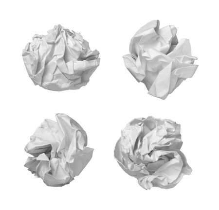 scrunched: collection of various  balls of paper on white background. each one is in camers full resolution
