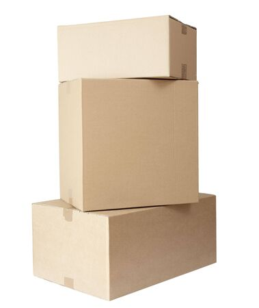 stack of carton boxes post package on white background  photo