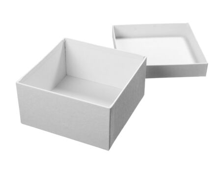 close up of white carton  box  package on white background  photo
