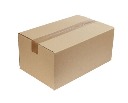 close up of carton  box  post package on white background Stock Photo - 5516407