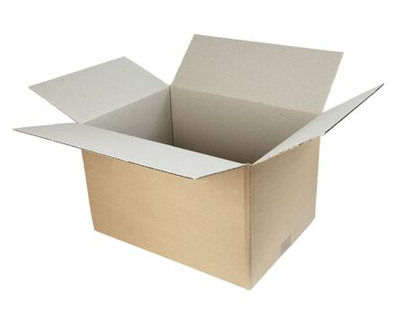 close up of carton  box  post package on white background Stock Photo - 5517130