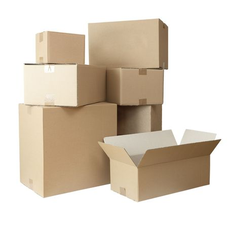 stack of carton boxes post package on white background Stock Photo - 5547685