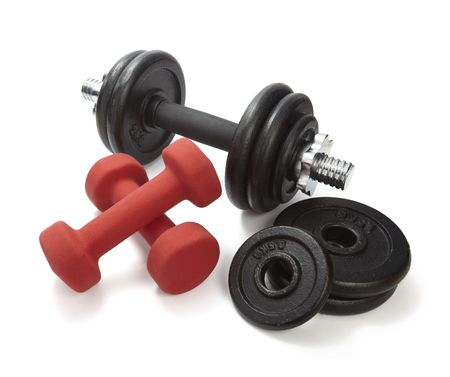 kilos: close up of body building equipment on white background