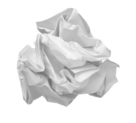 close up of ball of paper on white background  photo