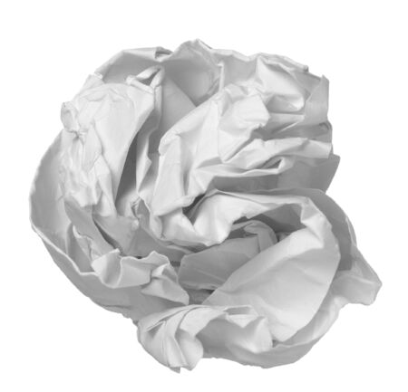 scrunched: close up of ball of paper on white background