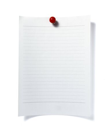 close up of post it reminder with red push pinon white background with clipping path Stock Photo - 5664911