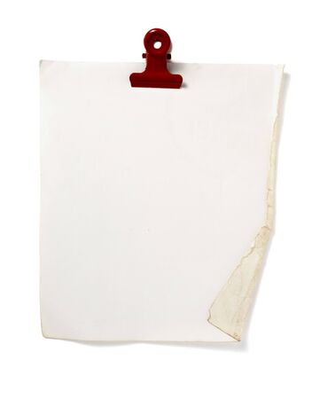 close up of post it reminder with red push pinon white background with clipping path Stock Photo - 5664930