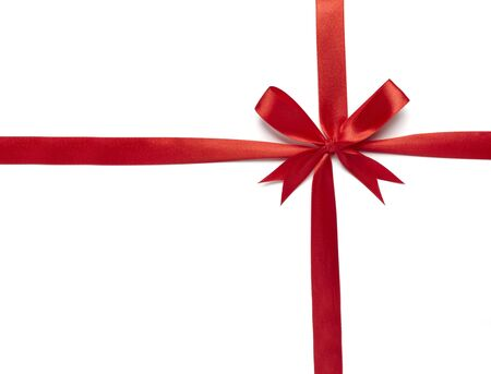 close up of  red ribbon on white background on white background with clipping path photo
