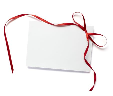 close up of white card note with  red ribbon on white background on white background with clipping path Stock Photo - 5664921