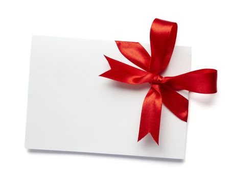 annotation: close up of white card note with  red ribbon on white background on white background with clipping path