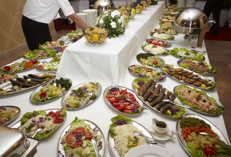catered: close up buffet table arrangement catering Stock Photo