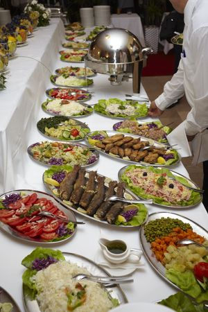 close up buffet table arrangement catering photo