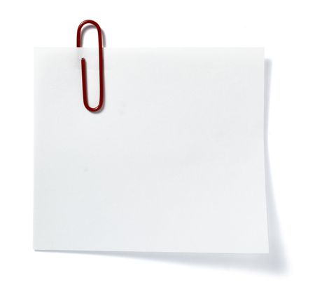 close up of post it reminder with red push pinon white background with clipping path Stock Photo - 5758385