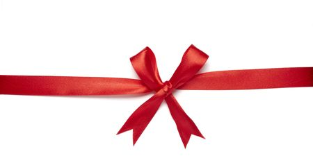 close up of  red ribbon on white background on white background with clipping path Stock Photo - 5758390