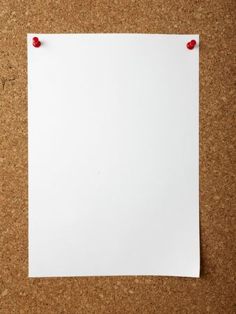 pin board: note paper with push pins on cork board