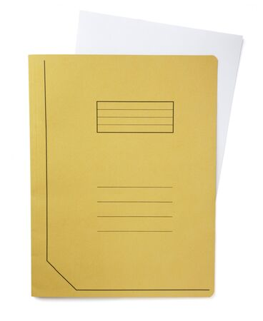 close up of file folder on white background, with clipping path photo