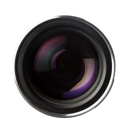 close up of quality photo lens optics on white background with clipping path photo