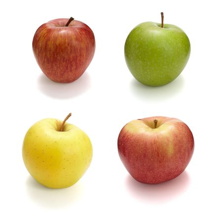 collection of fresh apples on white background. each one is in cameras full resolution photo