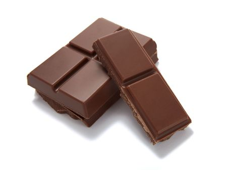 square cut: chocolate bar on white background