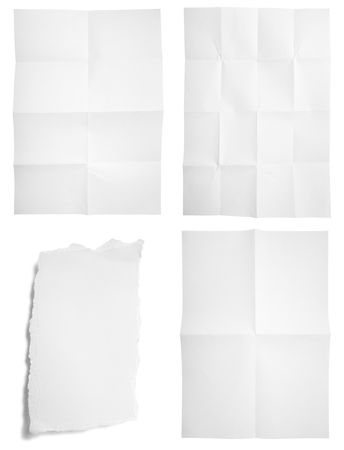 scrunch: collection of unfolded and ripped paper on white background. each one is in full cameras resolution