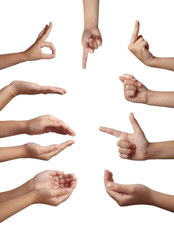 body language: collection of hands gesturing on white background. each one is in full cameras resolution