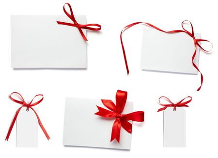 collection of white card note with  red ribbon on white background Stock Photo - 5870326