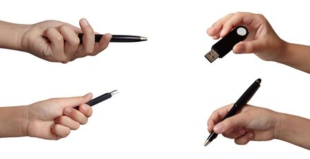 usb various: collection of hands gesturing on white background. each one is in full cameras resolution