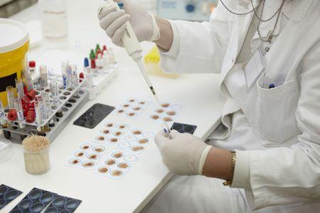 drug discovery: Close up di lavoratore medico in laboratorio