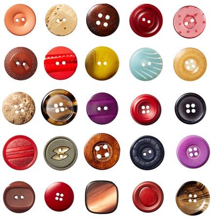cloth: collection of various sewing button on white background. each on is shot separately