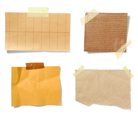 collection of old note paper paper on white background. each one is in full cameras resolution photo