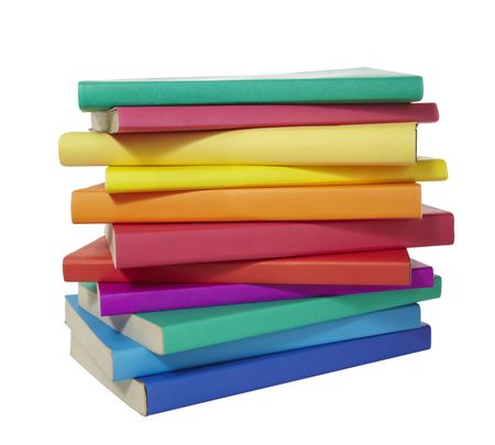 heaped: close up of stack of colorful books