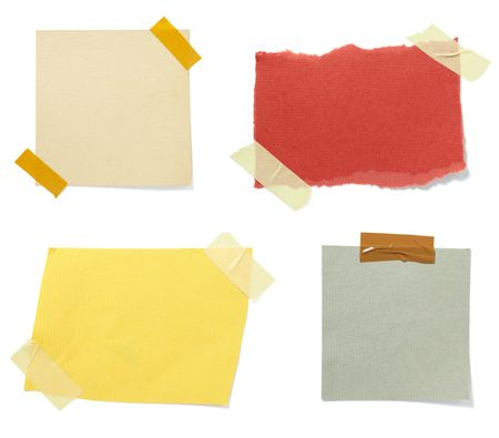 postit: collection of old note paper paper on white background. each one is in full cameras resolution