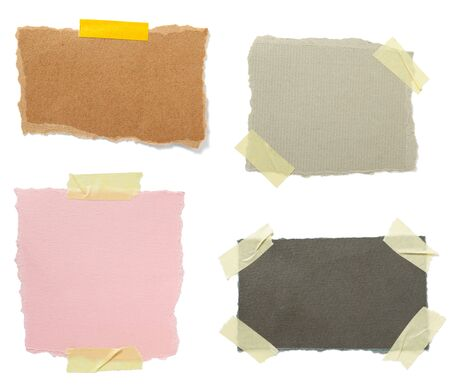 memorandum: collection of old note paper paper on white background. each one is in full cameras resolution