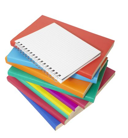 close up of stack of colorful books and notebook Stock Photo - 6073858