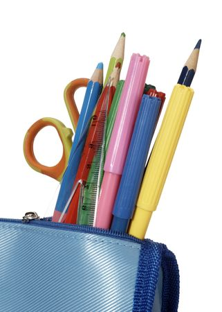 close up of school supplies in pencil case photo