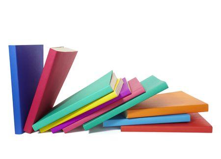 pile of books: Close up della pila di libri colorati  Archivio Fotografico