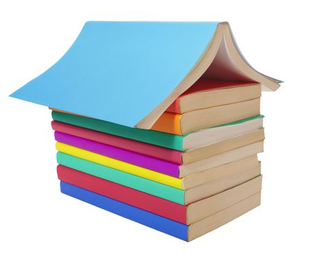 close up of stack of colorful books photo