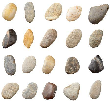 Steine und auf weißen Hintergrund. Jeder ist in Auflösung vollständige Kamera