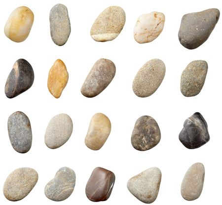 smooth stones: stones and on white background. each one is in full camera resolution Stock Photo